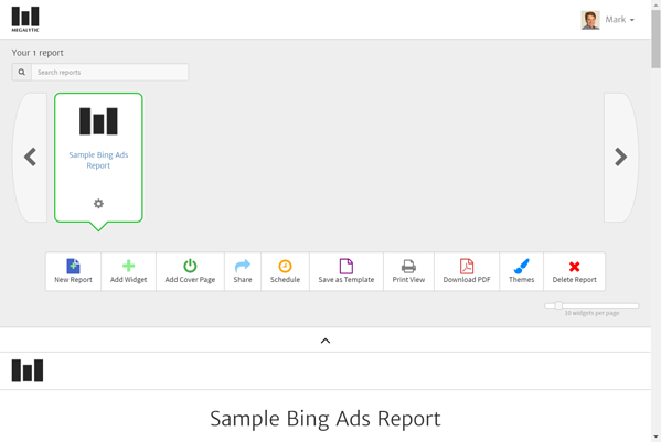 Sample Bing Ads Report in Megalytic Wordspace