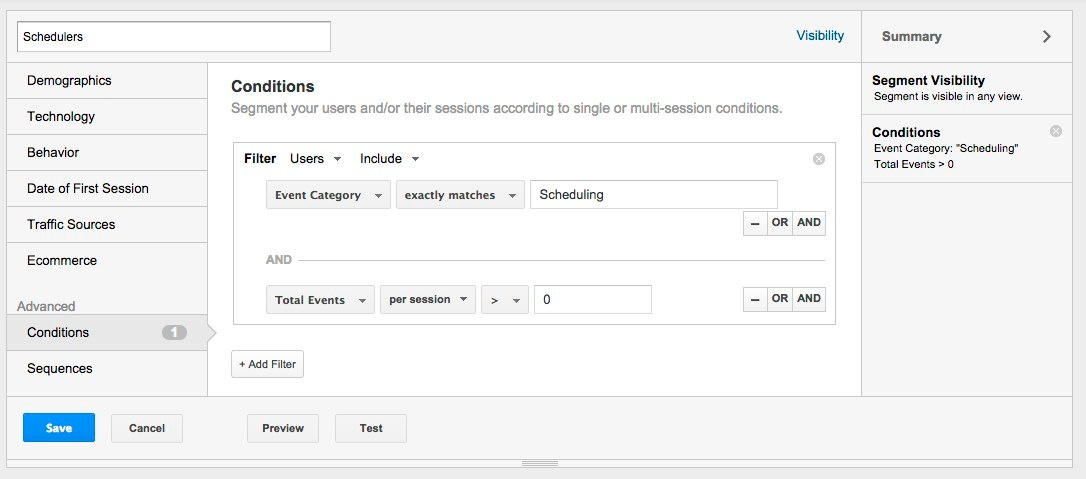using Google Analytics segment builder