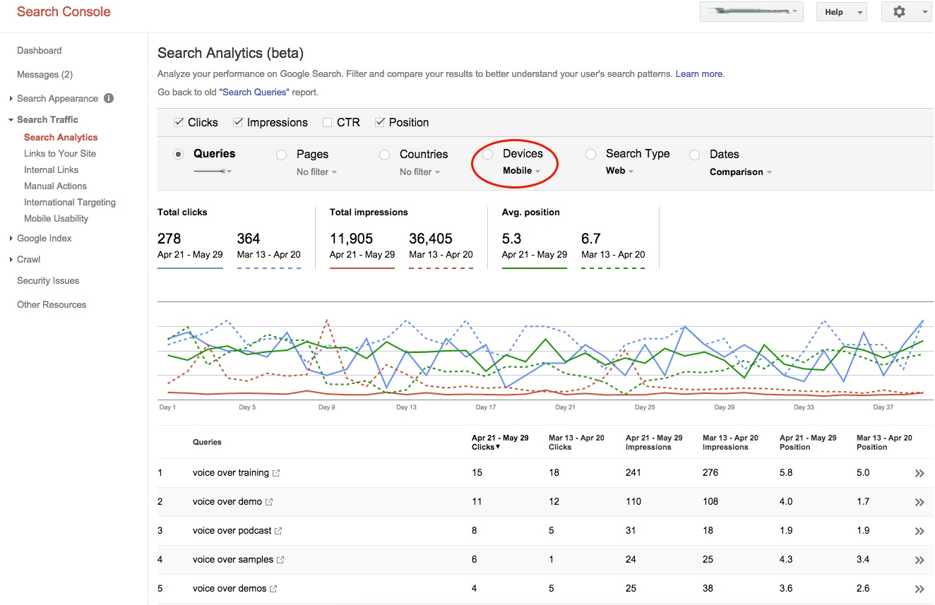 Search Analytics in the new Webmaster Tools