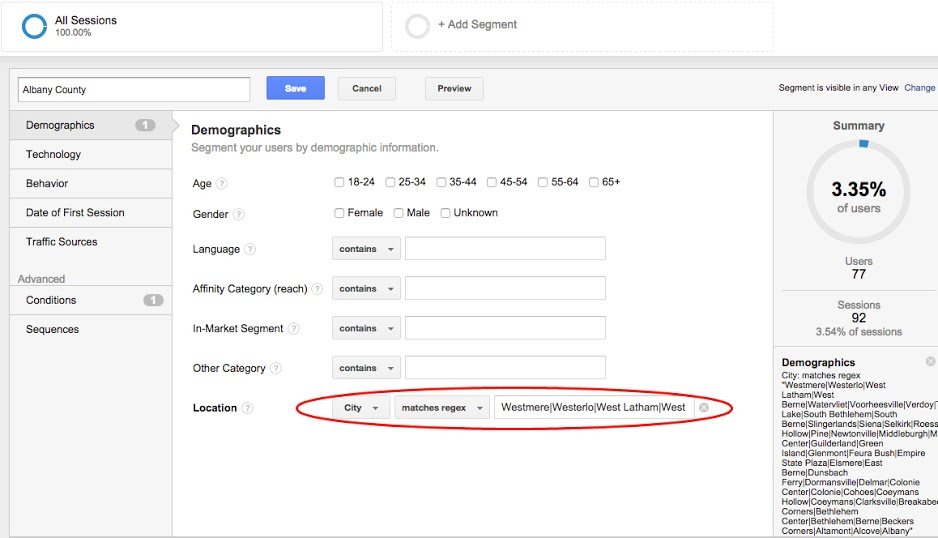 Google Analytics Segment by Country