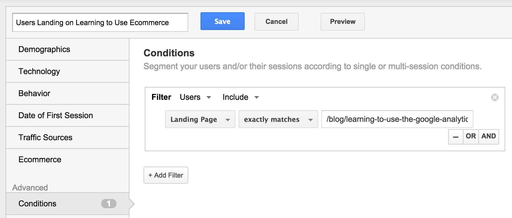 Google Analytics Constructing a Segment