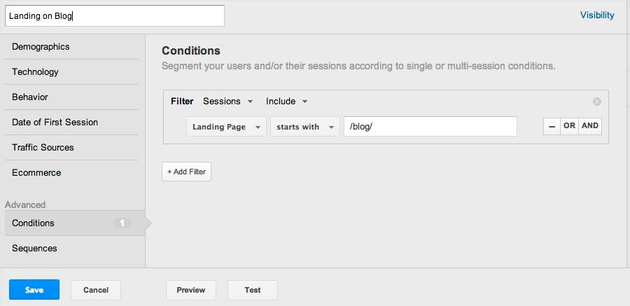google analytics segment landing on blog