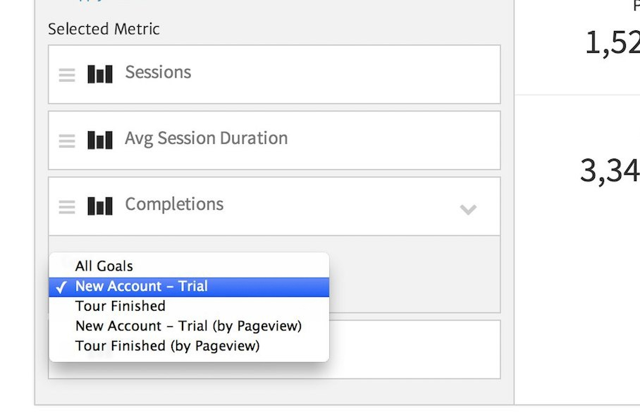 Selecting a Goal in a Megalytic Widget
