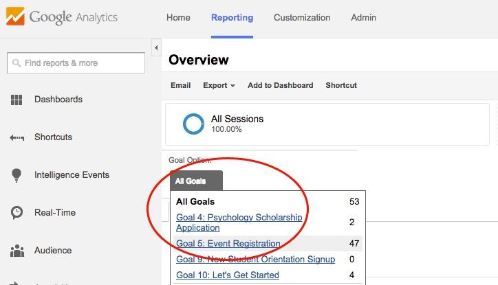 Google Analytics Selecting a Goal