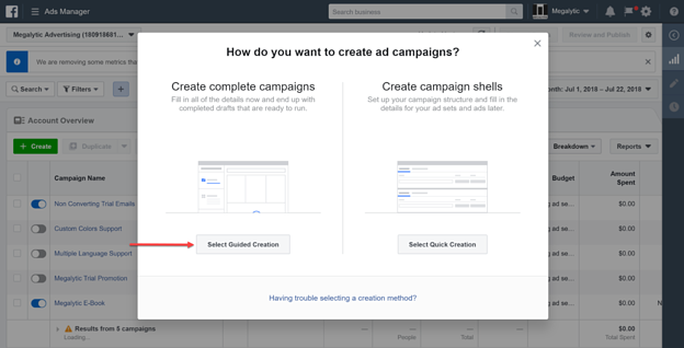 Select Guided Creation for Creating an Instagram Ad