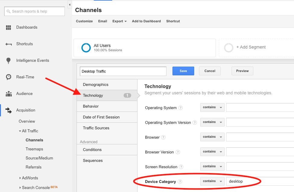 Defining a Desktop Segment in Google Analytics