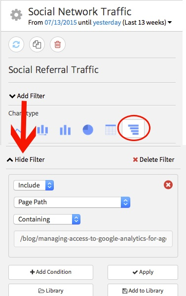 Setting up a filter for social referrals in Megalytic