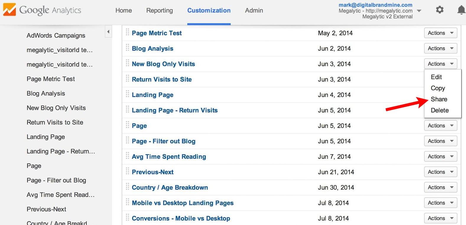 google analytics sharing a custom report
