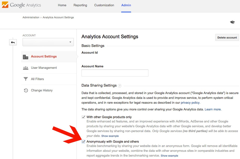 share data with Google to enable benchmarking
