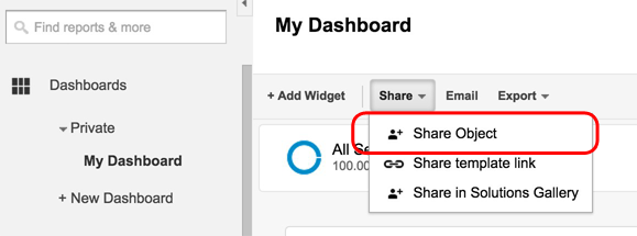 Sharing a Google Analytics Dashboard