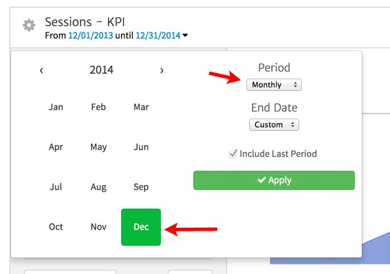 Selecting the KPI Date Range in Megalytic