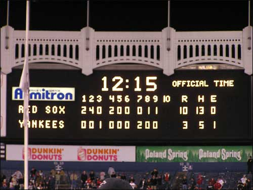 Yankee Stadium Scoreboard 2004 ACLS Game 7