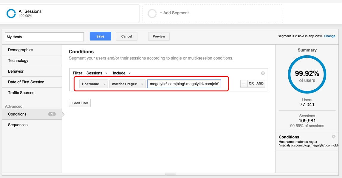 Google Analytics Use Segment to Test FIlter