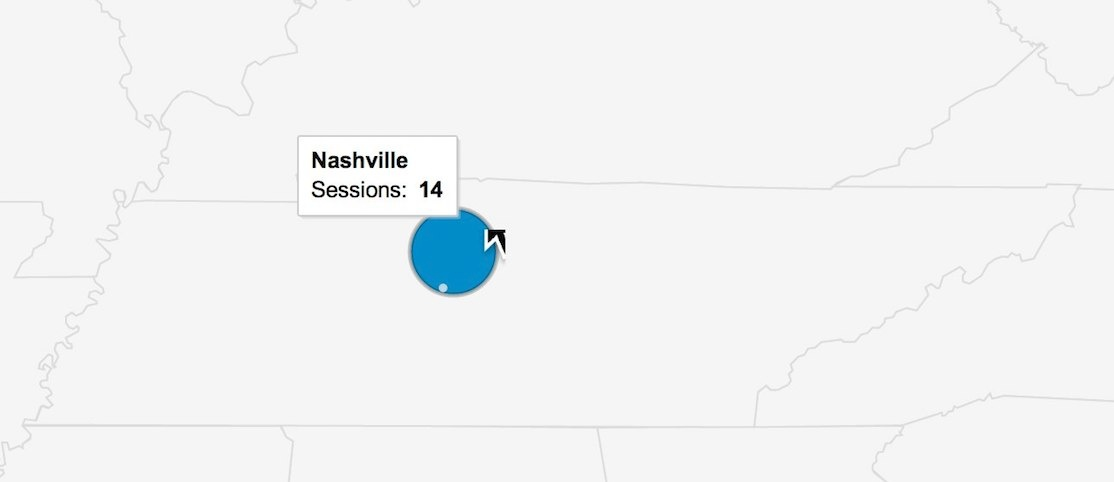 Google Analytics Shows a Cluster of Conversions in Nashville