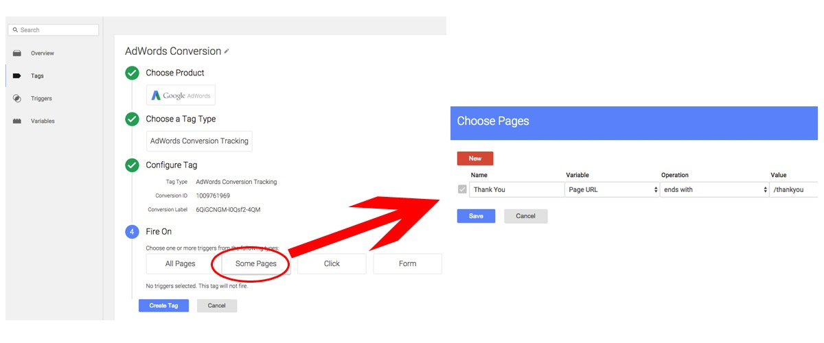 Google Tag Manager - Select Thank You Page