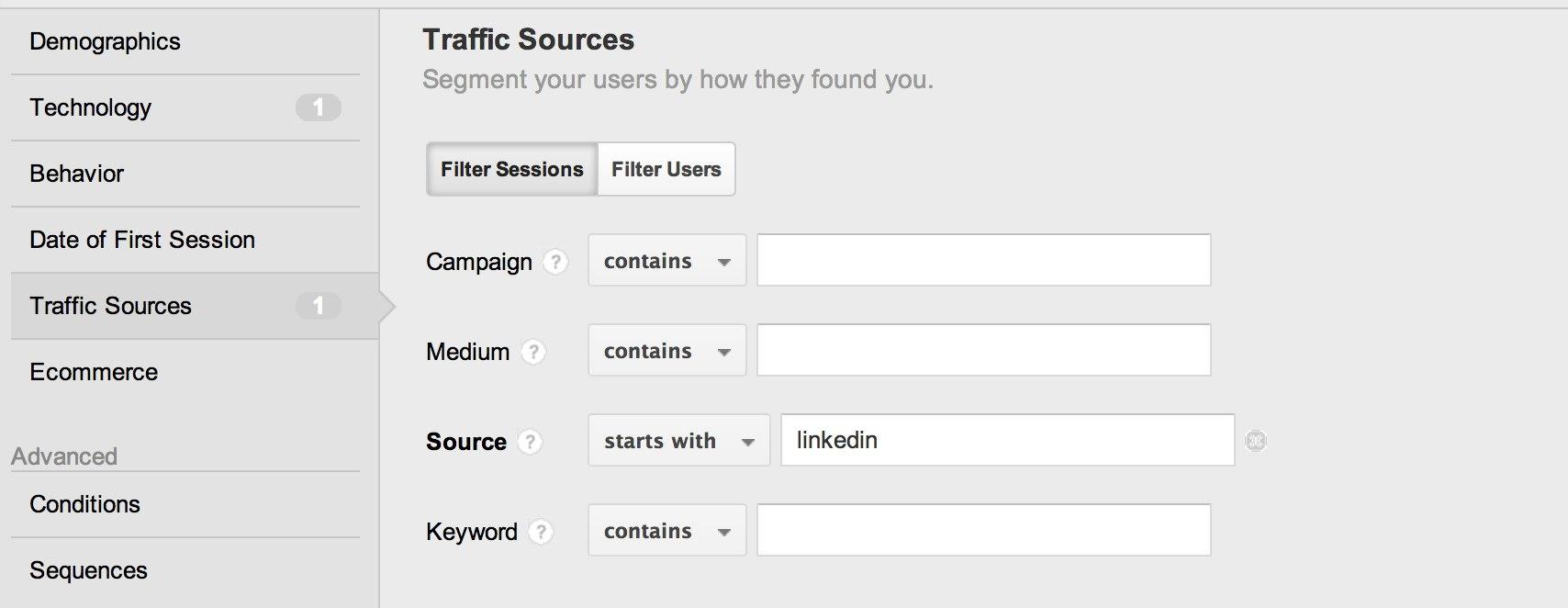 create segment with traffic source equals linkedin