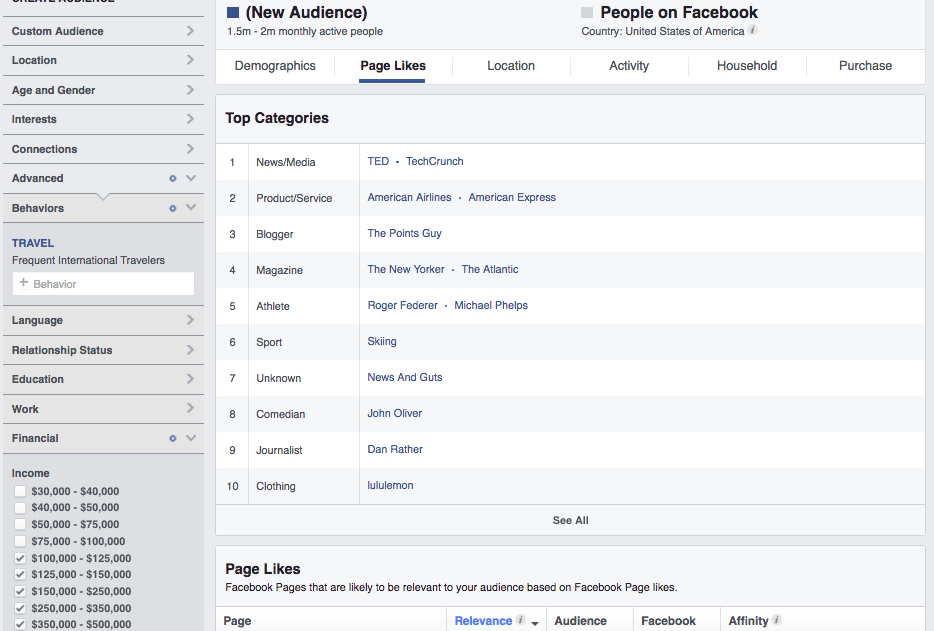 Facebook Audience of Frequent Travelers