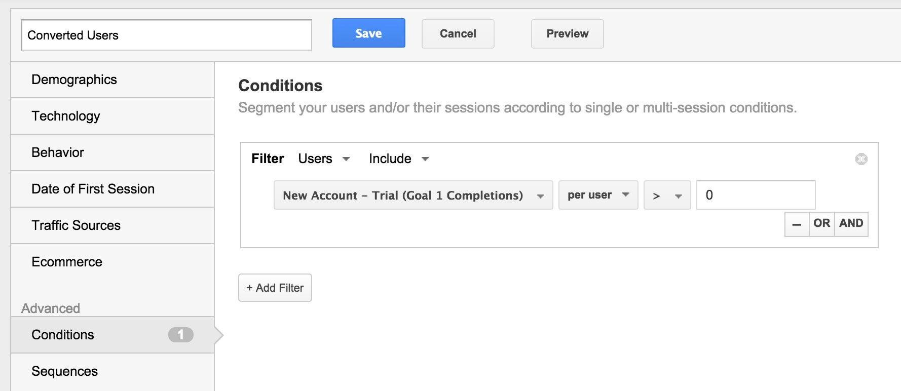 Google Analytics Create Trial User Segment