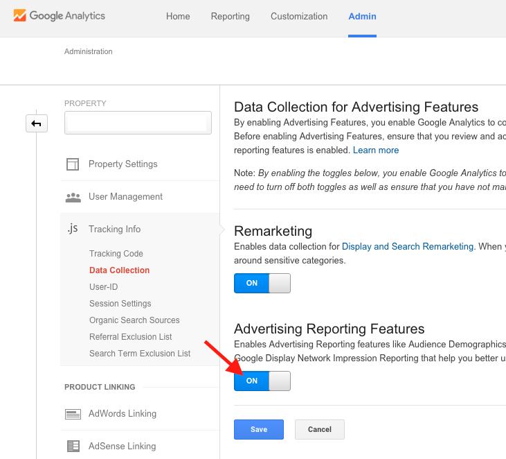 Google Analytics Turn on Advertiser Reporting