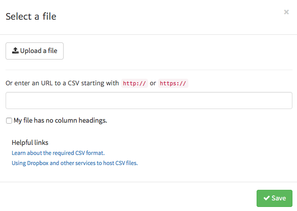 Uploading a file into the Megalytic CSV Widget