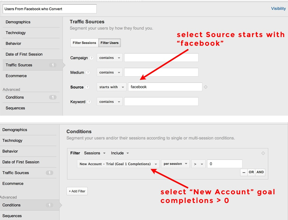 Google Analytics User Segment from Facebook Visits