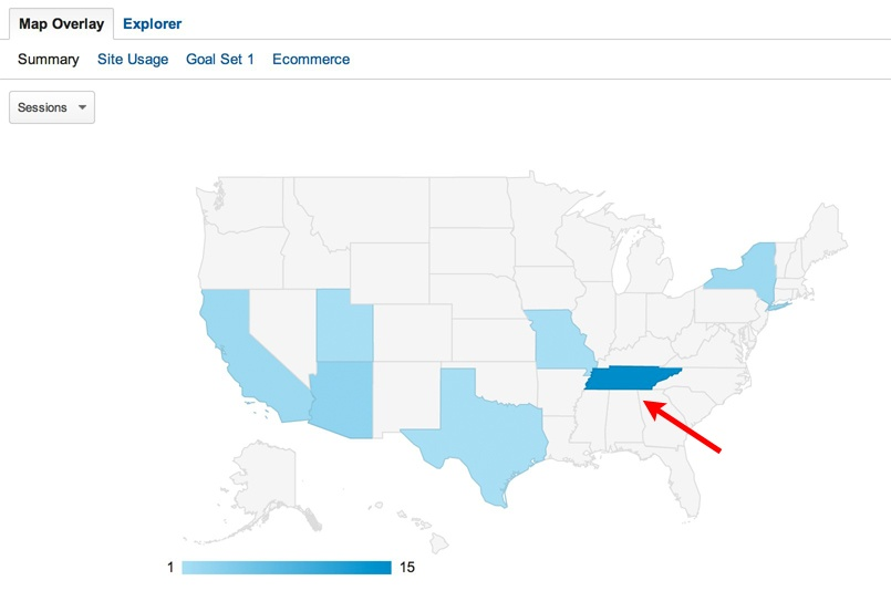 Google Analytics Shows Concentrated Activity in Tenessee
