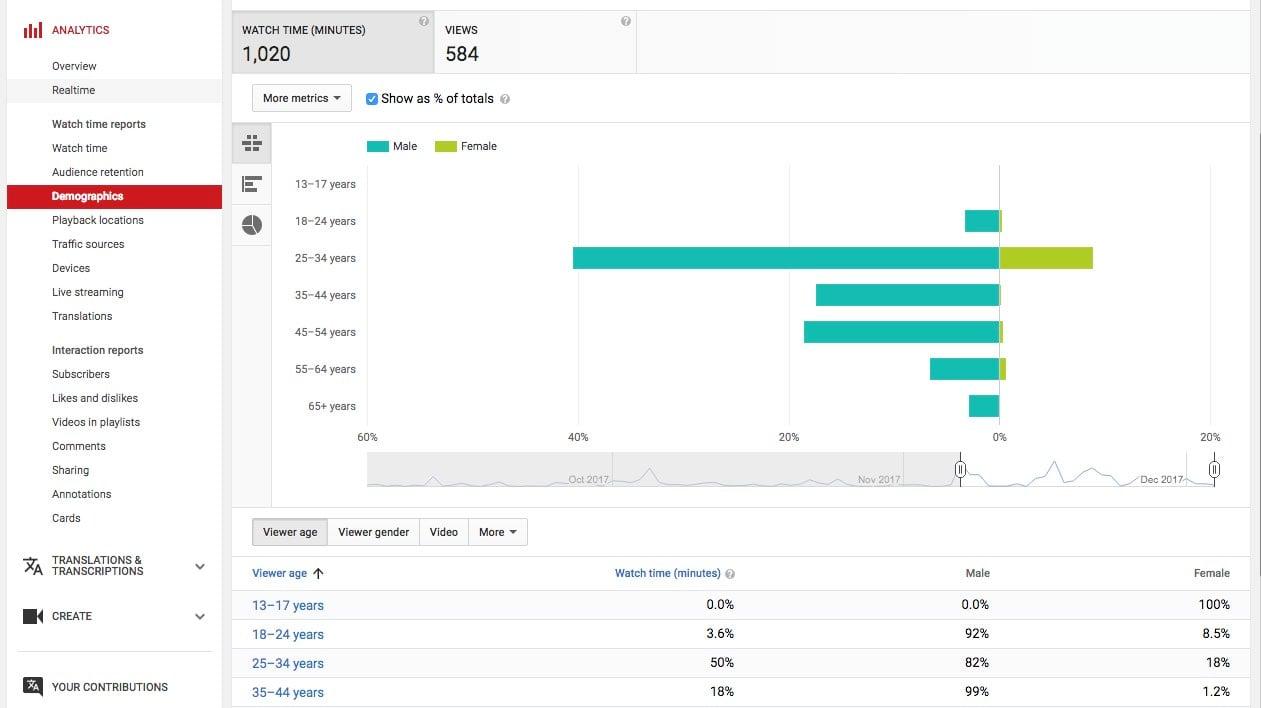 YouTube Analytics Demographics
